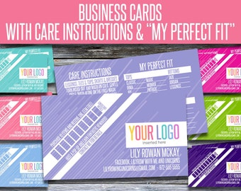 Business Cards with Care Instructions and My Perfect Fit! LLRBC004