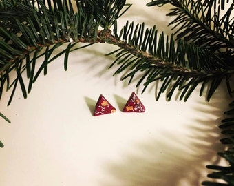 Cranberry Triangle Studs with Copper and Silver