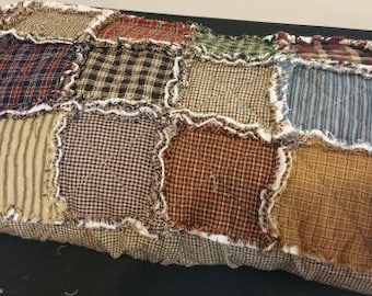 Queen/King size Rag Quilt Pillow Sham, Handmade, Assorted Primitive Homespun Fabrics,Made to order, Rustic, Country, Farmhouse