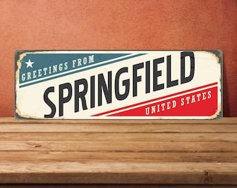 Springfield Signs, Springfield Sign, Springfield Decor, Springfield Art Prints, Springfield Metal Sign, Warning Sign, outdoor street sign
