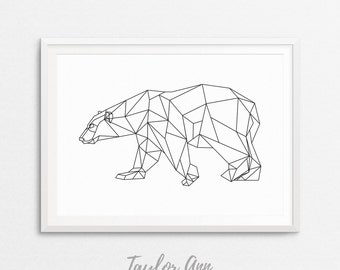 Geometric Bear, Bear Print, Geometric Animal, Bear Wall Decor, Geometric Animal Print, Bear Printable, Bear Art, Black and White Bear