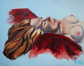 Painting, nude woman, life model, sleeping, side profile, red hair, red, blue, valentines, sensual, bedroom, Irish, affordable, original