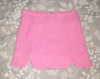 Baby Pink 90s Tweed Vintage Clueless Tulip Slit Mini Skirt