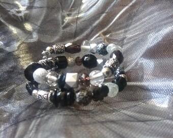 Black & Silver wire wrap bracelet