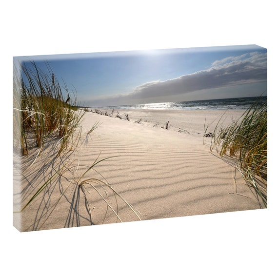 am strand bild strand meer keilrahmen leinwand poster xxl 120. Black Bedroom Furniture Sets. Home Design Ideas