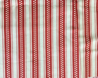 Quilting Cotton Red and Cream Retro-style Stripe One yd available.