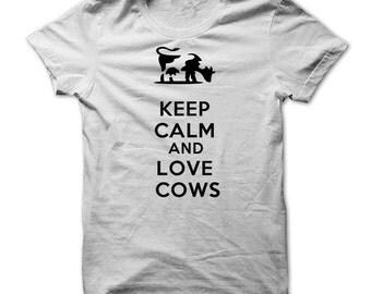 KEEP CALM LOVE Cows T-shirt.cow t-shirt,cow lovers tee,dairy farmers t-shirt,cow farmer t-shirt,love cows t-shirt,milk t-shirt,cow gift tees