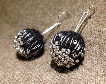 drooping Black Silver earrings felt and beads made brodee hand