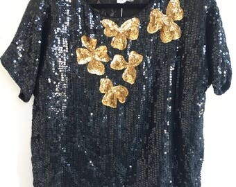 Vintage Sequin Dress Shirt