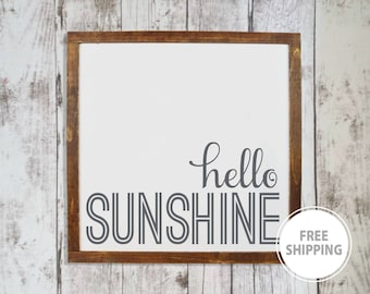 Hello sunshine sign, Farmhouse nursery wall decor, Entryway decor, Wood sign wall hanging, New baby gift, Farmhouse kitchen signs, Farm sign