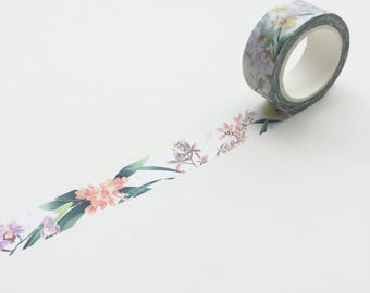 Botany Garden Washi Tape // For Her // Floral washi tape // Gift // Craft // decoration tape // wedding // Lunarbay Washi Tape