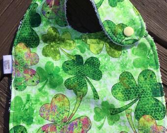 Bib, Snap Bib, Shamrock, Lucky Charm, St. Patrick's Day Bib