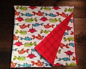 Receiving Blanket: Multicolour Fish and Red Plaid - Flannel - Large, multipurpose, double sided - Newborns, Baby, Infant, Toddler