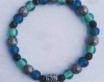 8mm Blue and Gray Glass Beaded Bracelet