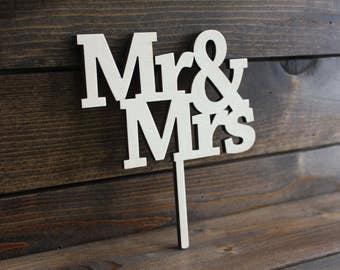 Wedding Cake Topper, Marriage, Bride, Groom, Mrs, Mr, Wood, Wooden, Mister, Rustic, Love, Custom