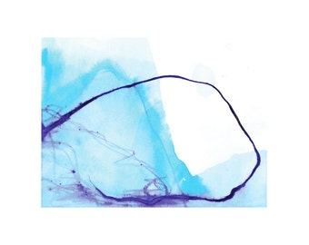 Blue landscape, landscape print, abstract landscape, abstract print, landscape painting