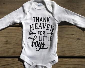 Thank heaven for little boys onesie, Long or Short sleeve