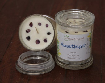 Amethyst Crystal Soy Candle - Large Jar