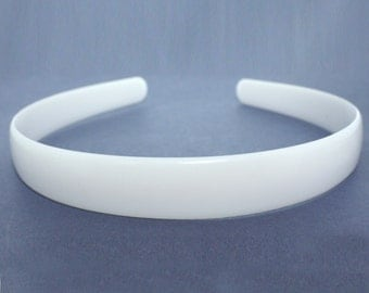 2cm HEADBAND CORE, white plastic aliceband centre, hair band former for your own designs. (Pack of 12)