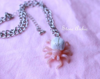 White spider necklace