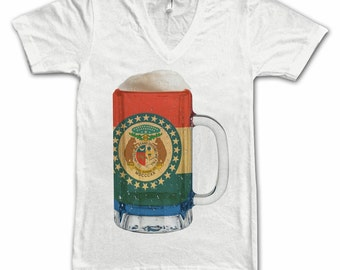 Ladies Missouri State Flag Beer Mug Tee, Home State Tee, State Pride, State Flag, Beer Tee, Beer T-Shirt, Beer Thinkers, Beer Lovers Tee