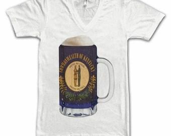 Ladies Kentucky State Flag Beer Mug Tee, Home Tee, State Pride, State Flag, Beer Tee, Beer T-Shirt, Beer Thinkers, Beer Lovers Tee, Women's