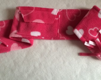 Valentine Scarves for your pampered poochies; beautifully soft and warm fleece.