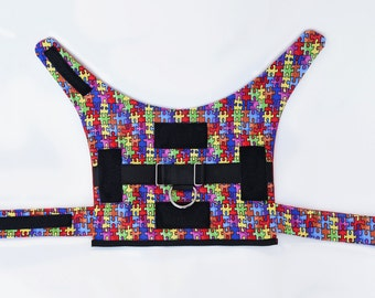 Autism awareness service dog vest with saddle bag rings, built in harness, velcro for patches; large dog sizes available
