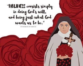 St Therese of Lisieux on Holiness//Catholic printables-wall art-prayer card//33cmx33cm/8x10/A4/A6/////DIGITAL DOWNLOAD