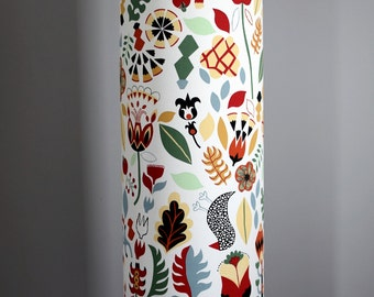 Tall lampshade with floor lamp base option, funky retro Scandinavian fabric, handmade by vivid shades, stylish floral folk scandi pattern