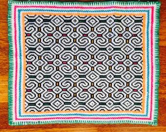 Shipibo Textile Mesa Icaro of Ayahuasca  40 x 34 CM