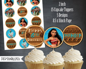 Moana Cupcake Toppers, Moana Tags, Moana Birthday Favors, Moana Party, Moana Birthday Party, Maui, Personalized, Printables, Digital, DIY