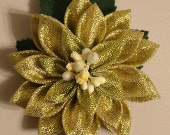 Gold Organza Flower Clip
