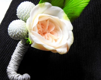 Ingenious Boutonniere With An English Rose - Polymer Clay Flowers