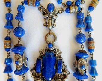 Neiger, Czech, Vintage, Blue Lapis Glass, Deco Necklace