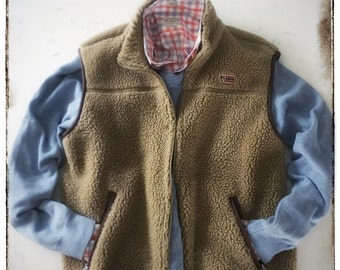 Men's Vintage Napapijri Berber Fleece Vest - Size Large