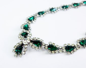 Vintage Sterling Silver Jay Flex Rhinstone Necklace - Emerald Green and Clear Rhinestones & Sterling Necklace Circa 1960 Costume Jewelry