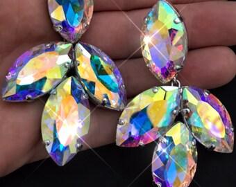 Large Acorn Statement Crystal Clip-On Earrings in Aurora Borealis. Length Approx 8cm. Austrian Crystal Rhinestone Diamante Elements