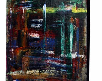 Original Abstract art, acrylic & mixed media knife painting , 10 x 10 inches stretch canvas