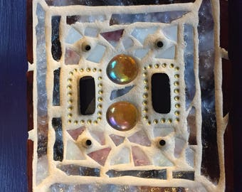 Stained glass mosaic switchplate