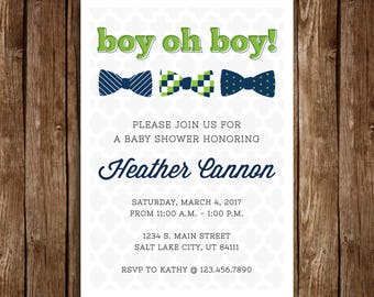 Little Man Baby Boy Bow Tie Shower Invitation - DIY Printable PDF Download