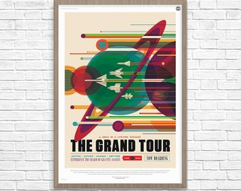 Space Travel Poster, NASA Space Poster, Grand Tour, 2016 NASA/JPL Space Travel Poster, Space Poster, Boys Room, Home Decor, Geek Decor
