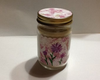 All Natural, Aromatherapy Soy Candle with Hemp Wick in a reusable jar, Choose Pure Essential Oil and Color, Unique  Hand Painted Labels