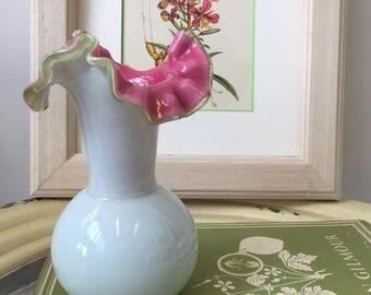 Vintage Grey and Pink Blown Glass Vase