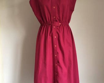 Vintage Sears Red Burgundy Fall Dress, Vintage Burgandy Dress