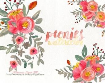 80% OFF! Watercolor Flora 06 Peonies Clipart, Flowers Clipart, Flower, Floral, Wreath, Bouquet, PNG, Clip Art, Watercolour, Orange, Red