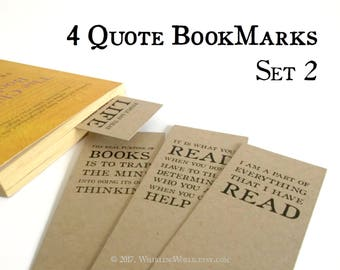 4 Bookish Quote Bookmarks | Literary Quotation Typography Page Markers | avid reader, book lover party favours | book nerd gift idea |