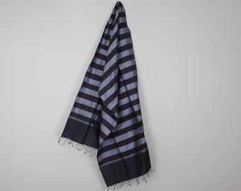 Navy/Silver Grey Stripe Scarf