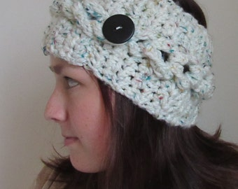 White Crocheted bottoned Headwrap