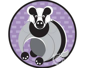 "Geometric Badger Design 8""x8"" Mounted & Signed Print"